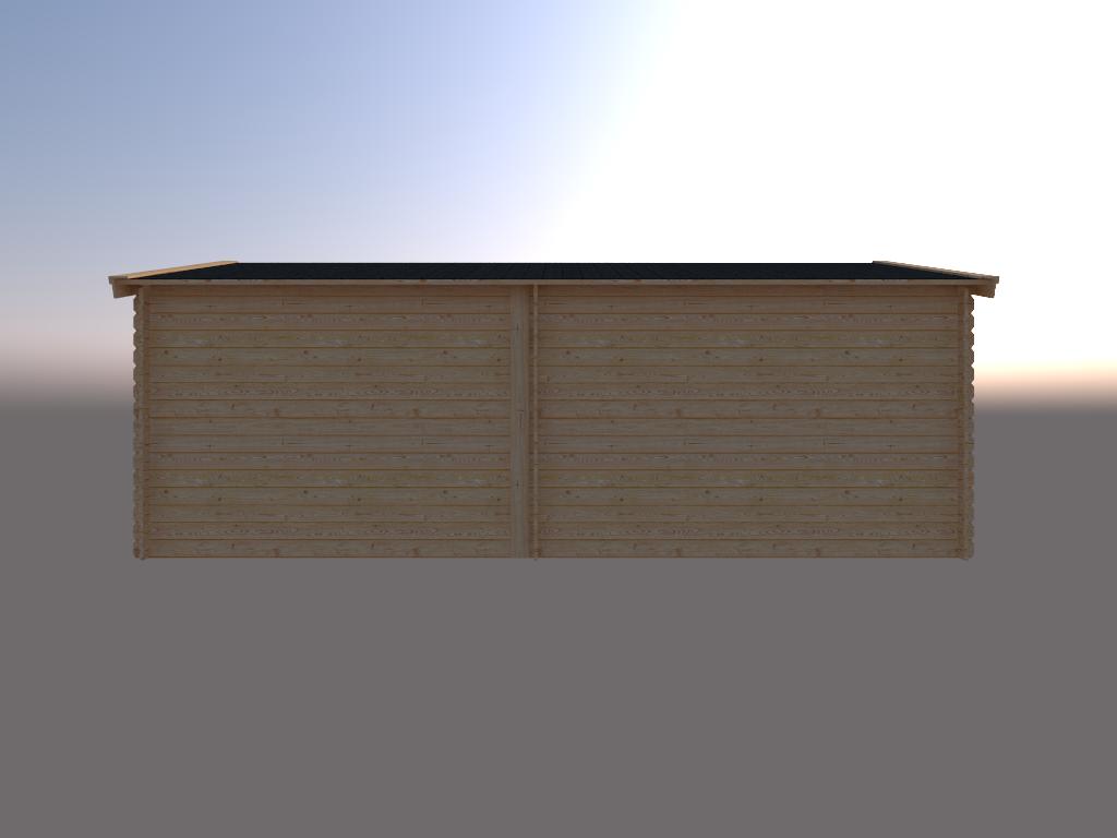 DWF Blokhut met overkapping zadeldak 350 x 350 + 300cm