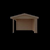 DWF Blokhut met overkapping zadeldak 400 x 350 + 250cm