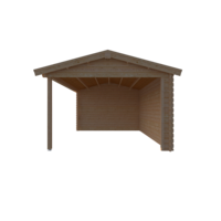 DWF Blokhut met overkapping zadeldak 400 x 350 + 400cm