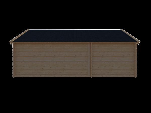 DWF Blokhut met overkapping Kapschuur dak 250 x 350 + 400cm