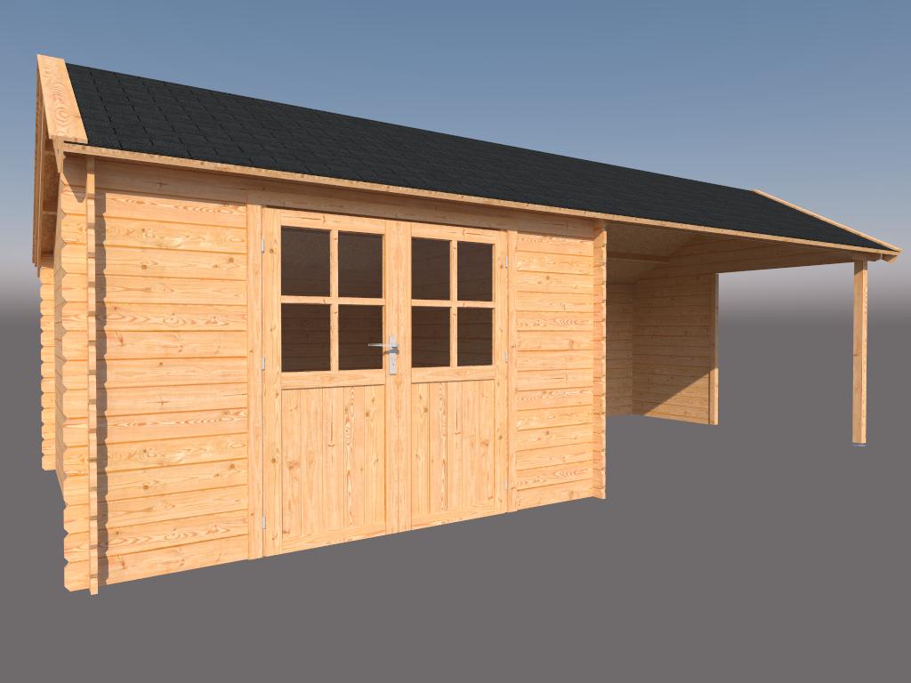 DWF Blokhut met overkapping Kapschuur dak 350 x 350 + 400cm