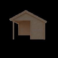 DWF Blokhut met overkapping Kapschuur dak 400 x 350 + 300cm