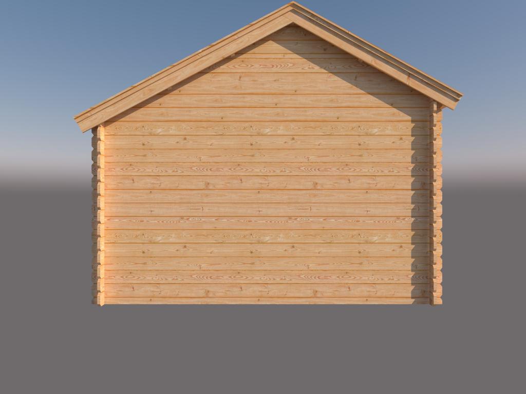 DWF Blokhut met overkapping Kapschuur dak 400 x 350 + 350cm