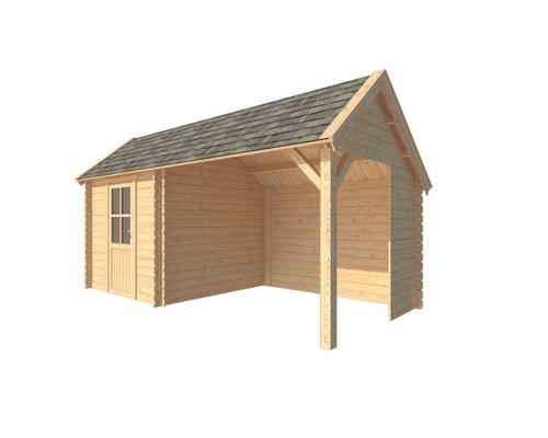 DWF Blokhut met overkapping Kapschuur dak 250 x 250 + 300cm