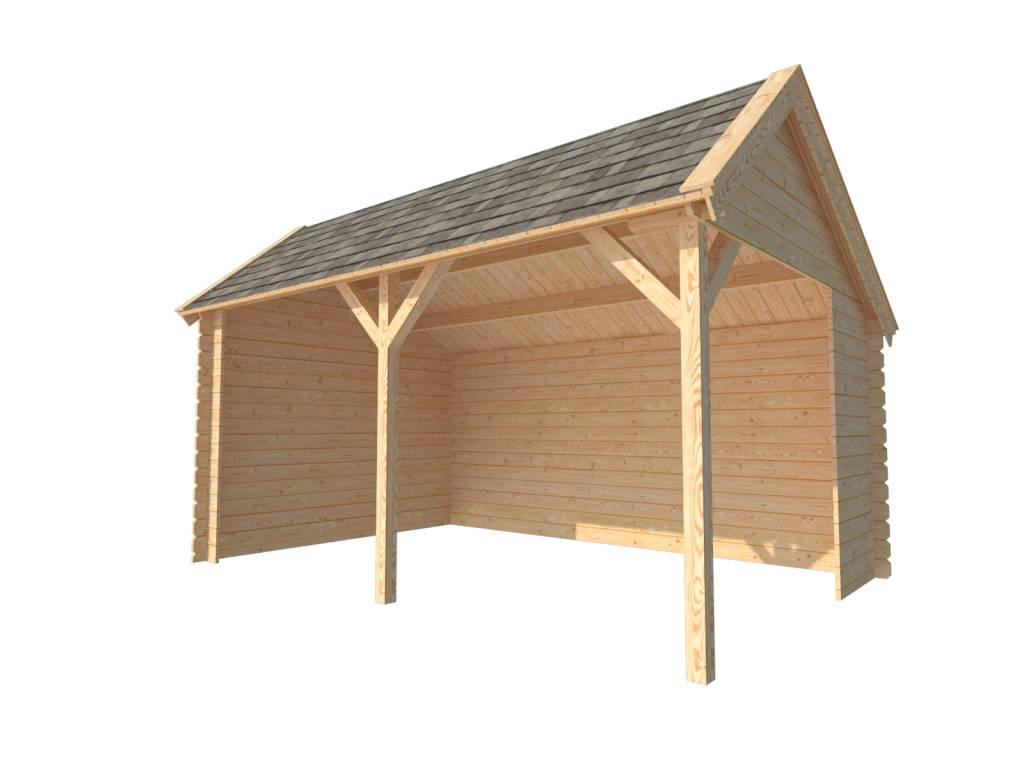 DWF Houten overkapping Kapschuur dak 450 x 300cm