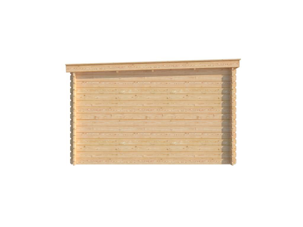 DWF Blokhut met overkapping lessenaar dak 400 x 350 + 350cm