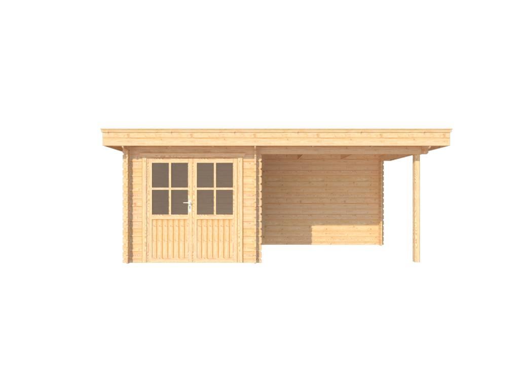 DWF Blokhut met overkapping plat dak 250 x 250 + 300cm