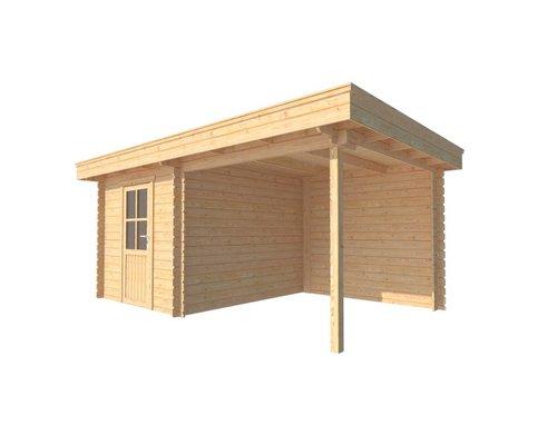 DWF Blokhut met overkapping plat dak 250 x 300 + 250cm