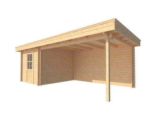 DWF Blokhut met overkapping plat dak 250 x 300 + 400cm