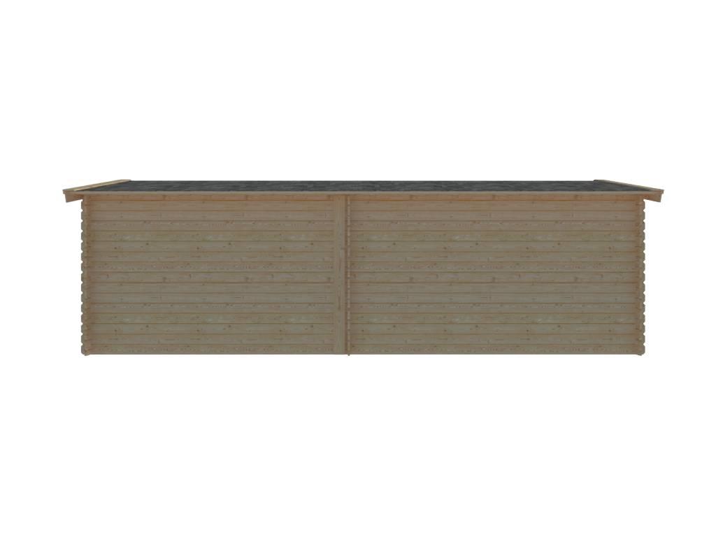 DWF Blokhut met overkapping zadeldak 400 x 250 + 350cm