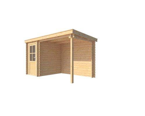 DWF Blokhut met overkapping lessenaar dak 150 x 200 + 250cm
