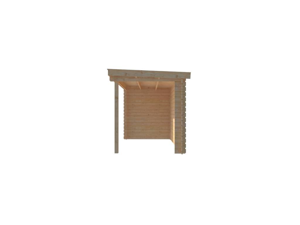 DWF Blokhut met overkapping lessenaar dak 150 x 200 + 300cm