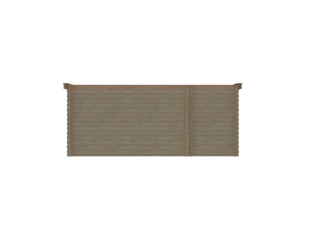 DWF Blokhut met overkapping lessenaar dak 150 x 200 + 350cm