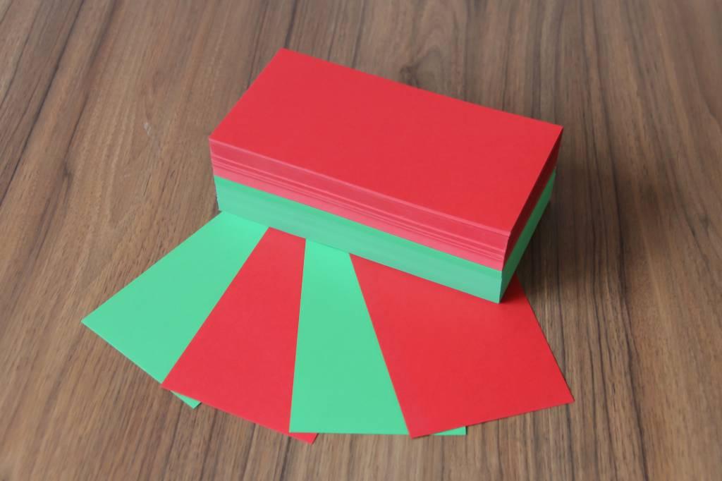 """Datamondial """"die Dicken"""" Voting Moderationskarten Rechteck  10x20cm, 2 x 250 Stück, Farbe intensiv grün und rot"""