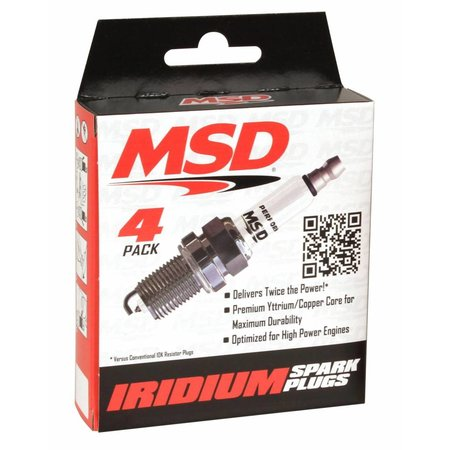 MSD Ignition 7IR5Y Spark Plug, 4 Per Package