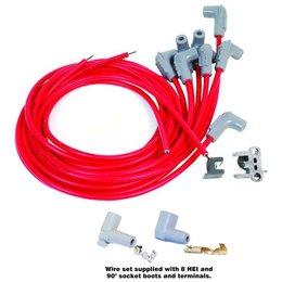 MSD Ignition Bougiekabelset Universeel V8 90° Plug, Socket/HEI Cap Super Conductor Rood