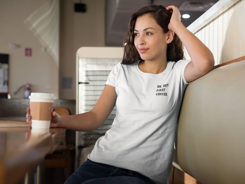 Dames Shirt Tekst Coffee