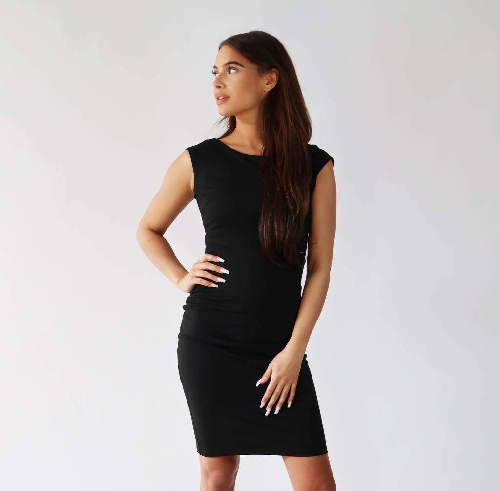 Zwart Basic Jurkje.Basic Jurk Zwart Ibizi Fashion