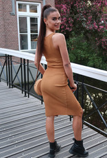 Basic Rib Dress Camel