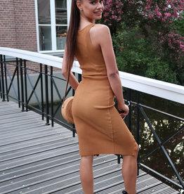 Basic Rib Dress Camel