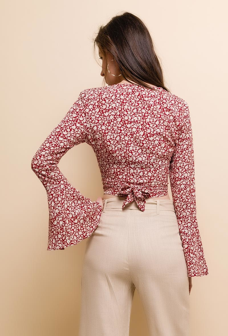 Festival Crop Top Flared Rood