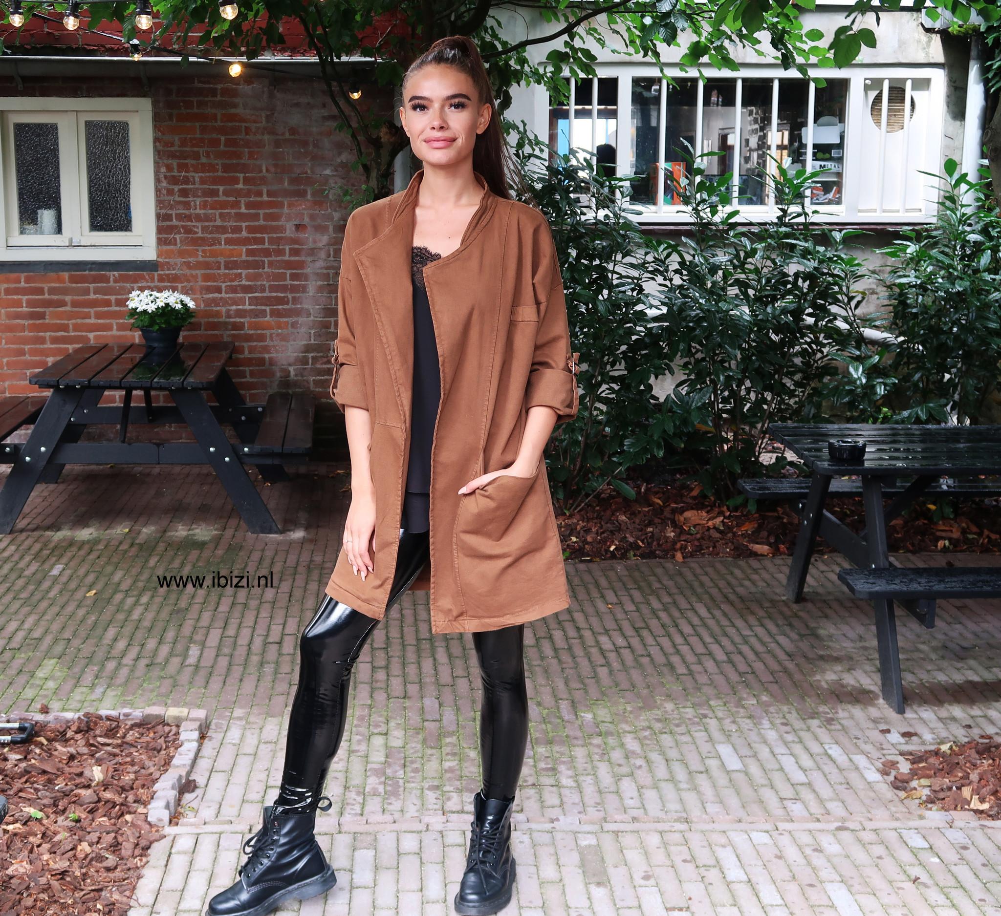 Oversized Dames Jacket Camel