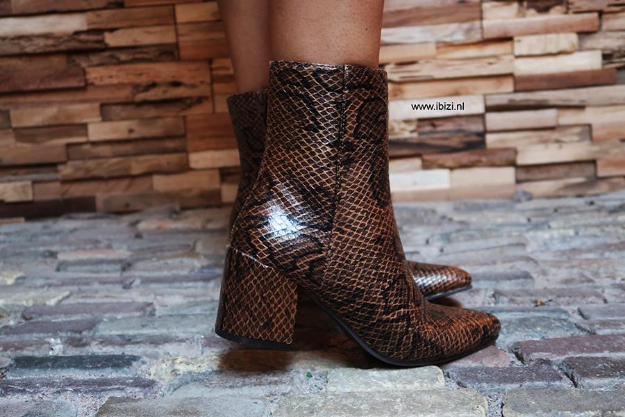 Snakeprint Boots - Slangenprint Laarsjes Bruin