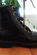 Zwarte Laarsjes - Croco Boots Black