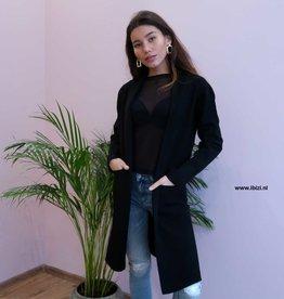 Dames Vest  Lang Oversized Zwart