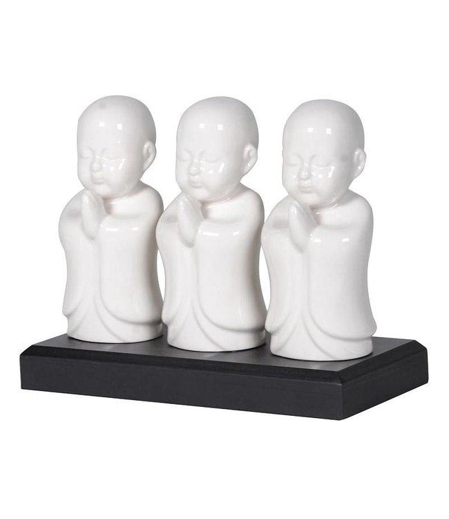 3 white buddha ornament