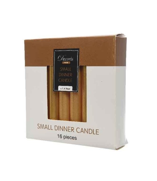 Mini Dinner Candles Gold Box of 16