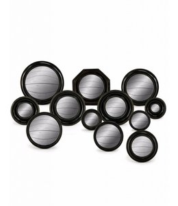 M&R Set of 12 Assorted Black framed Mirrors