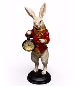 M&R White Rabbit Standing Clock Figure Red