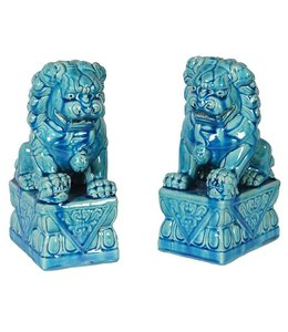 Pair Blue Foo Dogs
