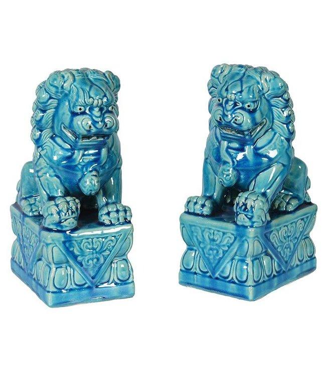 Pair Blue Foo Dogs