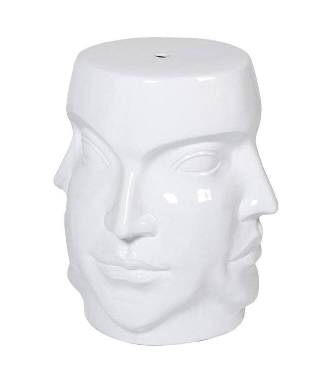 White Four Face Stool