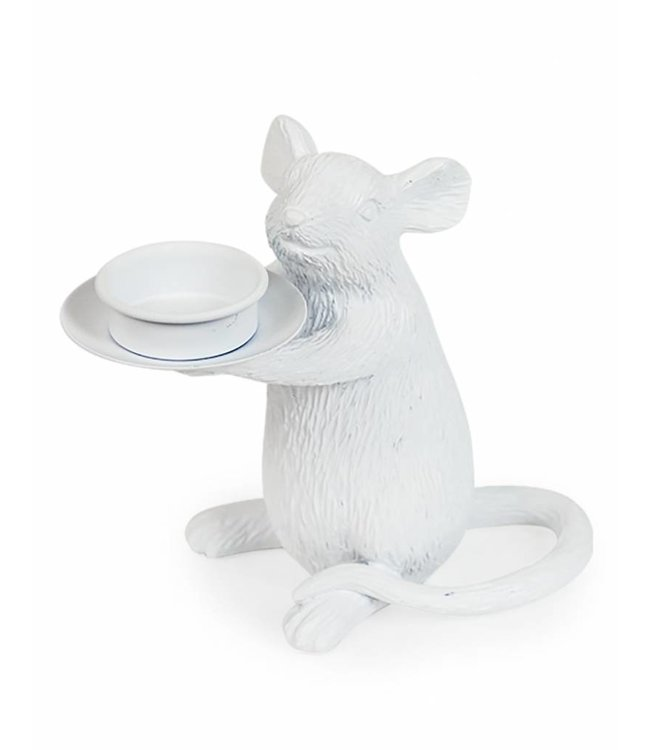 M&R White Mouse Tealight Holder RIGHT