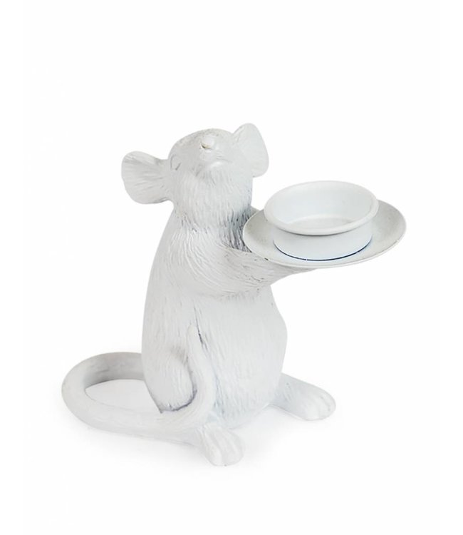 M&R White Mouse Tealight Holder LEFT