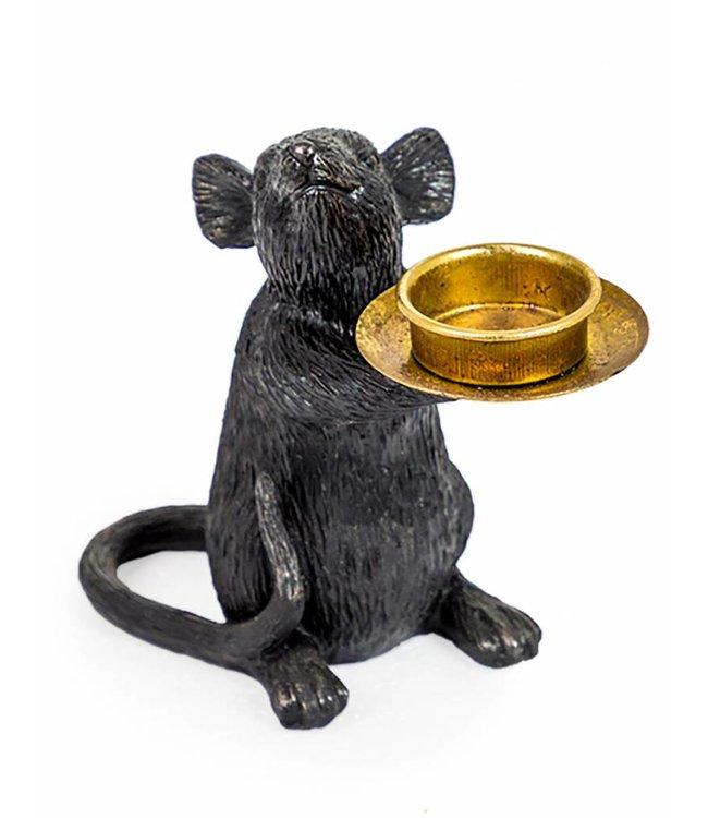 M&R Black Mouse Tealight Holder Left