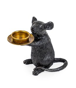 M&R Black Mouse Candle Holder
