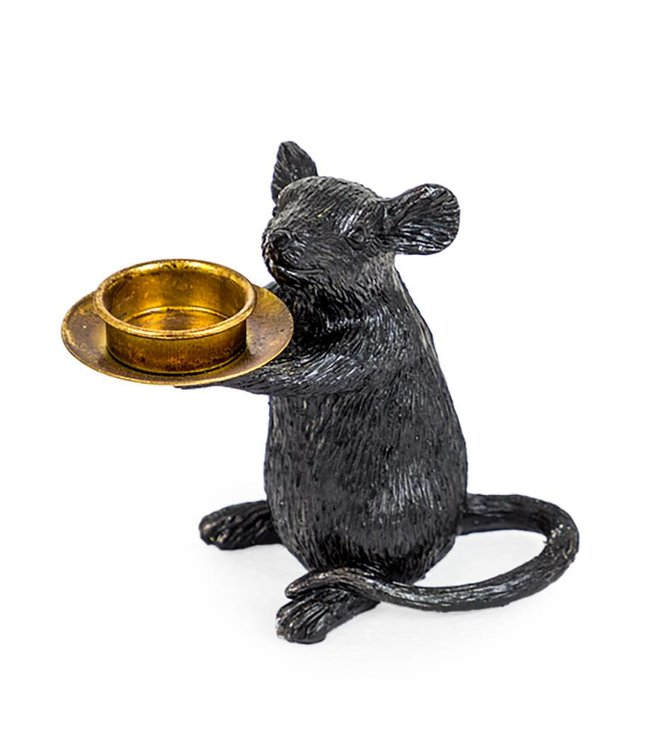 M&R Black Mouse Candle Holder - Right