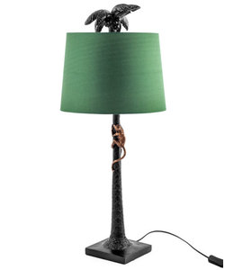 M&R Black Palm Tree Lamp with Green Shade