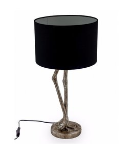 M&R Silver Flamingo Legs Table Lamp with Black Shade