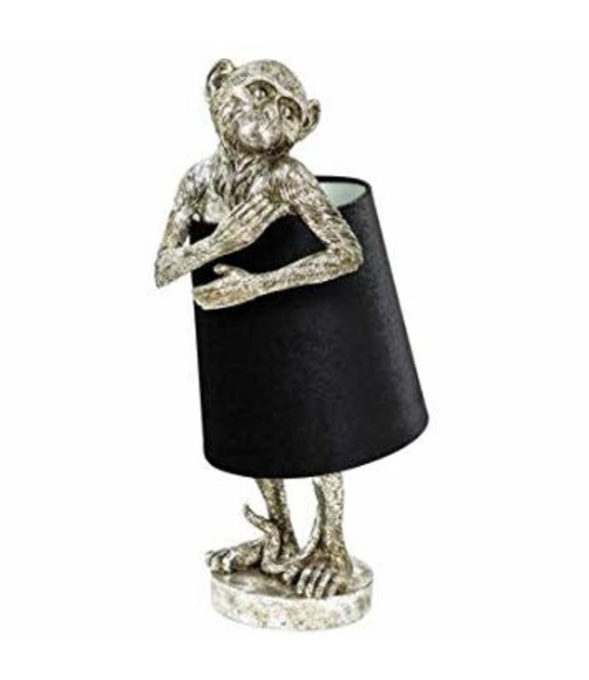 M&R Silver Monkey Table Lamp With Black Velvet Shade