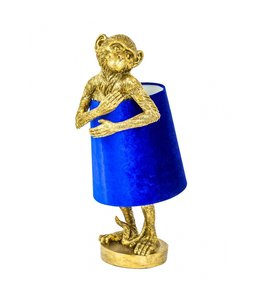 M&R Gold Monkey Table Lamp With Blue Velvet Shade