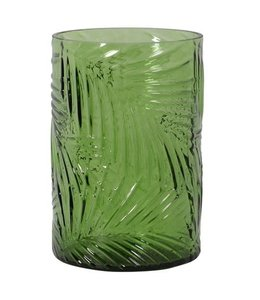 Embossed Green Palm T-Light Holder