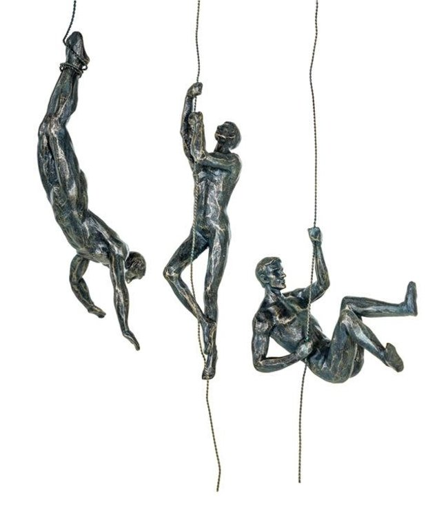M&R Set 3 Antique Bronze Abseiling Wall Figures