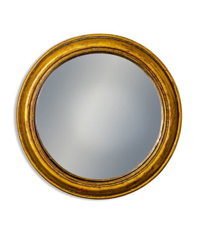M&R Gold Rounded Framed Large Convex Mirror
