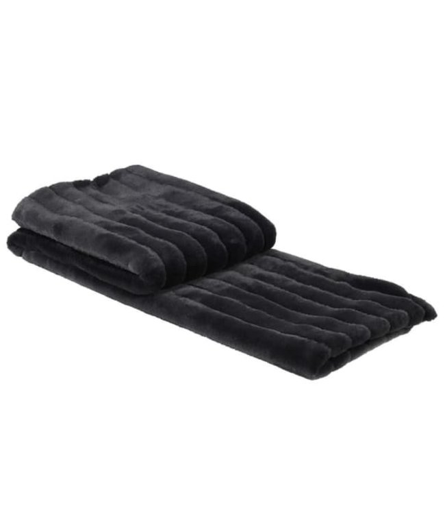 Charcoal Ribbed Faux Fur Throw