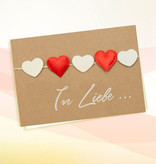 "Grußkarte - Motiv Herzen-Girlande  ""In Liebe"""